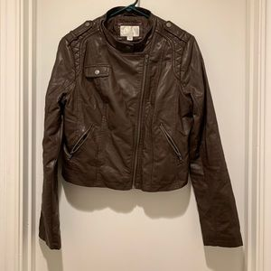 Xhileration Brown Faux Leather Motorcycle Jacket